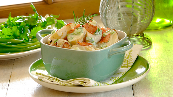 Warm Bacon, Blue Cheese and Spring Onion Potato Salad